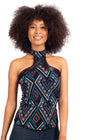 African Renaissance - Blue Print High Neck Choker Top