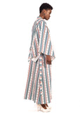 Naturelle - Blue Red Stripes Kimono Dress