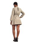 Back view of girl Naturelle khaki short dress