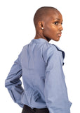 back view of girl wearing roundneck