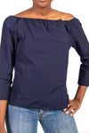 Body picture of girl wearing navy top and blue jeans