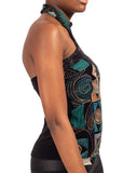 Profile view of woman's torso with turquoise ethnic halter neck top by African Renaissance