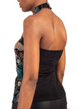 Back view of woman's torso wearing African Renaissance chocker top.