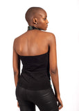 Woman from behind wearing shoulder fee halter neck top