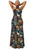 African Renaissance | Round Neck Long Turquoise Dress