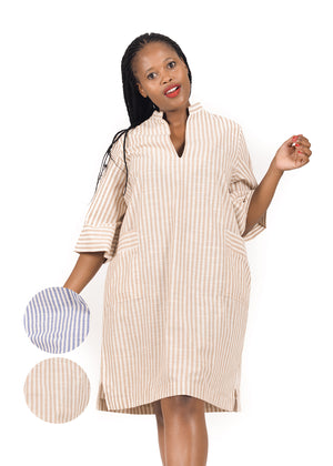 Beige and white striped Linen Shirt Dress by Amelia Wearhouse on Rightland