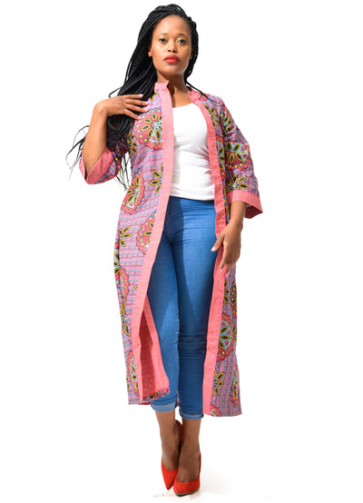 The House Of Diva | African Print Kimono Pink