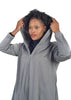 Baroque Grey Hoodie, with black turtle neck