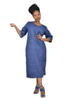 Baroque - Cobalt Split Pocket Linen Dress