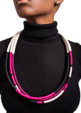 Elizabeth Morr - Triple Necklace Pink and Black