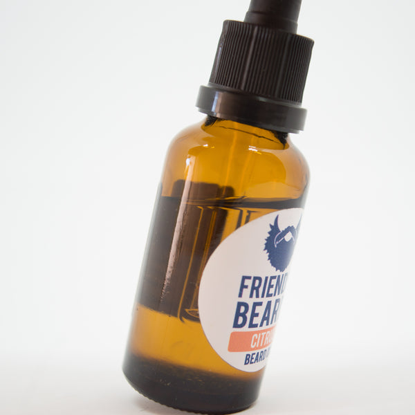 Friends with Beards Beard Oil Citrus Bottle Close Up