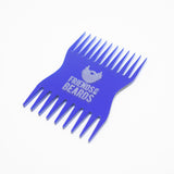 Blue Friends With Beards Beard Comb, Cheque Card sized, on white background