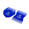 Blue Friends With Beards Beard Comb, Cheque Card sized, next to the logo shaped beard comb