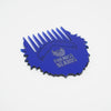 Friends With Beards Blue Beard Comb in the shape of the Friends With Beards logo on white background