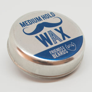 Medium Hold Beard Wax tin - blue Logo on Silver tin