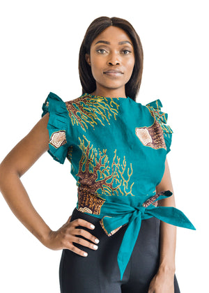 African Print Crew Neck Wrap Top Front