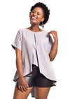 "Grey Linen Blouse ""Hlori"" with leather shorts from front by Her Ritual on Rightland"