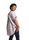 "Grey Linen Blouse ""Hlori"" with blue jeans from behind by Her Ritual on Rightland"