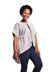 "Grey Linen Blouse ""Hlori"" with blue jeans from front by Her Ritual on Rightland"