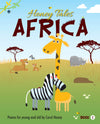 "Cover of ""Honey Tales Africa"" book 1 - Illustration of A Zebra, Giraffe and other animals in the savannah"