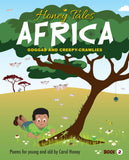 Cover of Honey Tales Africa 2 - Goggas and Creepy Crawlies. Illustration of a boy under a tree playing with insects