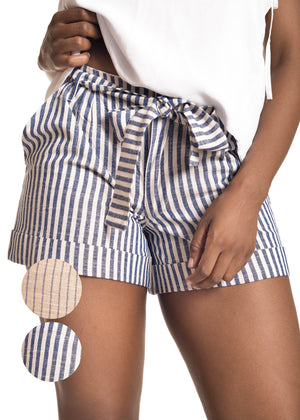 Chipiwo Striped blue linen short front