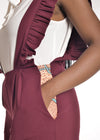 Chipiwo - Maroon Jumpsuit and Blouse Set pocket view