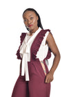 Chipiwo - Maroon Jumpsuit and Blouse Set left side view