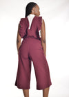 Chipiwo - Maroon Jumpsuit and Blouse Set back view