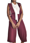 Chipiwo - Maroon Jumpsuit and Blouse Set front view