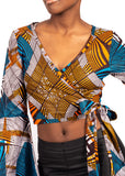 Naturelle - Blue and Orange Print Crop Top