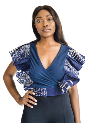 African Print Navy Chiffon Wrap Top Front