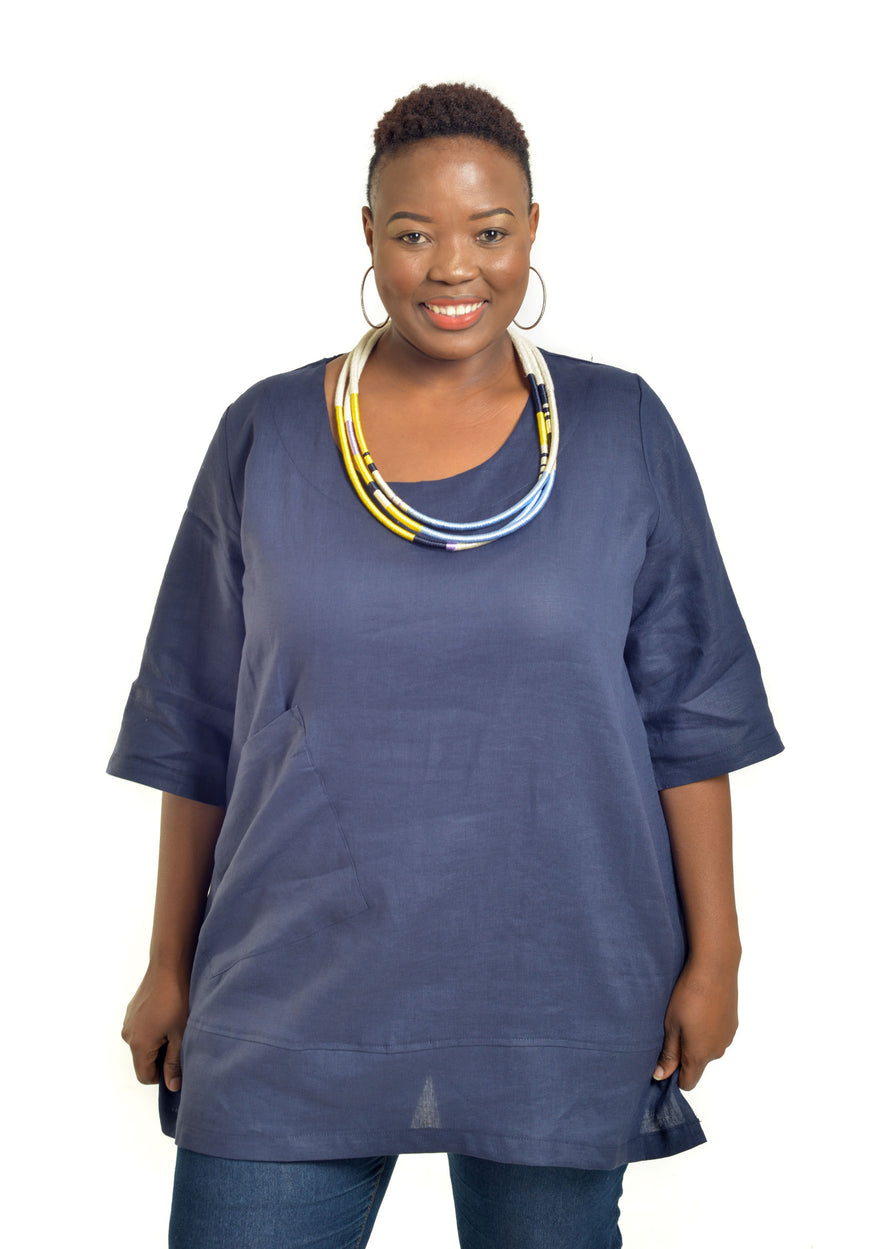 Front view of woman wearing a navy linen tunic by Baroque Clothing.