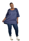 Full view of woman wearing a navy linen tunic in 4XL by Baroque Clothing.