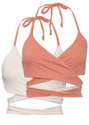 Beige/Burnt Sienna reversible bikini top by Nude Wear Clothing.