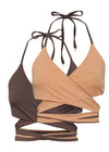Cocoa/Toffee reversible bikini top by Nude Wear Clothing.