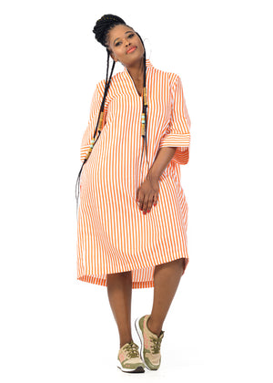 Orange and White striped Shirt Dress
