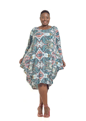 2XL Baroque Plus size slinky dress mosaic print Rightland