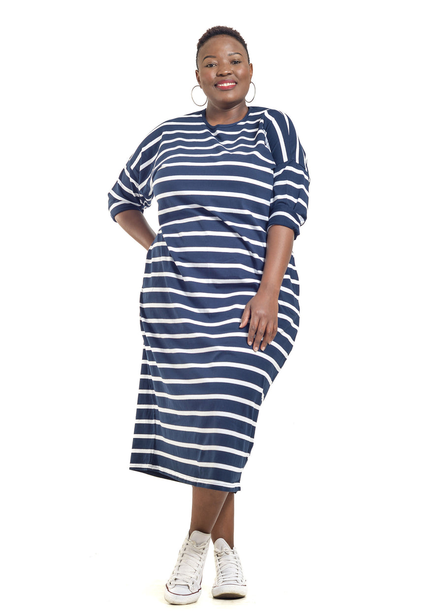 Plus Size Maxi Dress Striped by Baroque