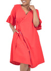 Stylish, red, linen wrap dress by Her Ritual.