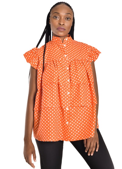 Amelia Wearhouse - Orange Polka Dots Top