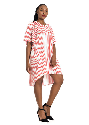 Amelia Wearhouse - Red White Striped Dress