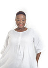 White linen plus size dress Baroque