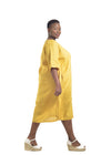 Yellow Linen dress Plus size Baroque