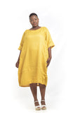 Baroque - Yellow Linen Godet Dress