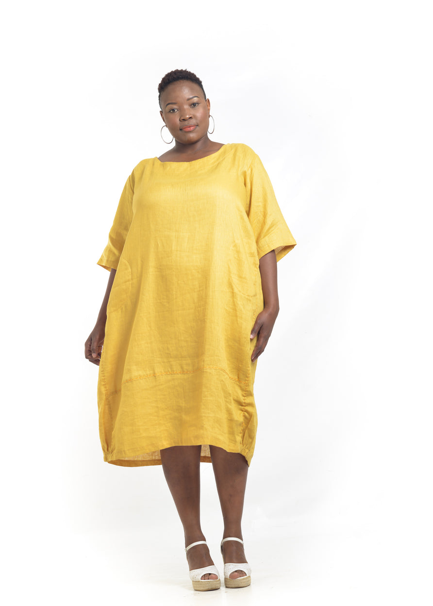 Yellow Linen dress size 3XL