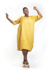 Rightland Yellow Linen dress Plus size Baroque