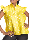 Amelia Wearhouse - Sleeveless Top Stars yellow with ruffle sleeves