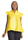 Amelia Wearhouse - Sleeveless Top Stars yellow front view close up