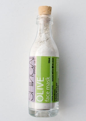 Shingai Natural Skincare Kaolin Clay and Olive Leaf Face Mask in Glass Bottle